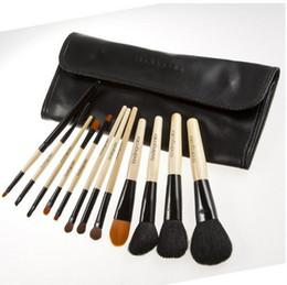 Wholesale Girls Facial Hair - 12Pcs set Brand Makeup Brushes Professional Cosmetic Foundation Blush Eyeshadow Brush Kit Girls Women Facial Care Beauty Tools with PU Bag