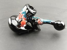 """Wholesale Black Red Guitar - Hot Sale 6.3"""" 16cm Guitar Keyboard Shape Black Flame Red Color Glass Smoking Pipes 120g Weight oil rigs Smoking Accessories BEP04"""