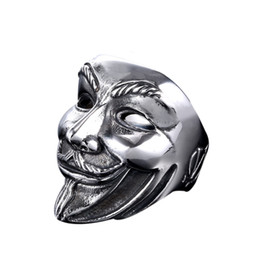 Wholesale Stainless Steel Mask - Siver Vintage 316L Stainless Steel Never Fade Mask Clown Men's Punk Retro Ring Size 7-13