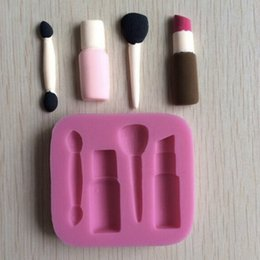 Wholesale Molds Nails - Silicone 3D Makeup Tools Lipstick Brush Nail Polish Design Fondant Cake Molds Chocolate Mould Decoration
