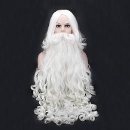 Wholesale White Wig Cosplay Medium - Santa Claus Long Wavy Wig White Santa Claus beard set Fancy High Temperature Fiber Cosplay wig