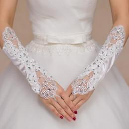 Wholesale White Satin Gloves Wholesale - Wholesale-White Ivory Red Long Satin Fingerless Wedding Gloves Bride Bridal Gloves Accessories for Wedding LF6