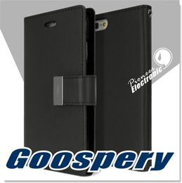 Wholesale Diary Case For Iphone - For Iphone 7 Case Drop Protection GOOSPERY Rich Diary Wallet Case Premium Soft Synthetic Leather Case ID Card Cash Slot Cover For S8 S7