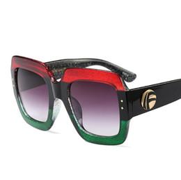 Wholesale Color Squares - Luxury unique sunglasses women oversized square red sunglasses for women 2017 brand designer fashion retro green sunglass