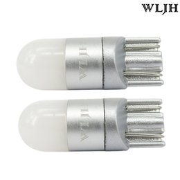 Wholesale Plate Lamp - WLJH 6000K White Car Light T10 W5W Led Wedge Bulb 3030 1SMD Auto High Quality Dome Reading Parking Lights Sidemarker Sidelight Lamp Bulbs