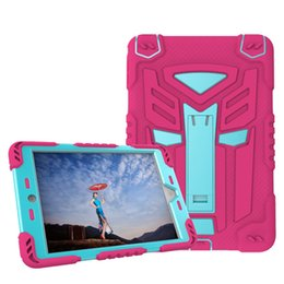 Wholesale Ipad Mini Silicon Cases - Pad Shell Hybrid Duty Robot Rubber Defender Dustproof Cases Silicon Kickstand Shockproof Cover for iPad Mini 4