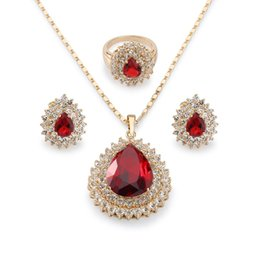 Wholesale Thanksgiving Stud Earrings - Magnificent 18k Yellow Gold Plated Ruby Drop Jewelry Set Women's Teardrop Pendant Necklace Charm Finger Ring Stud Earring Set