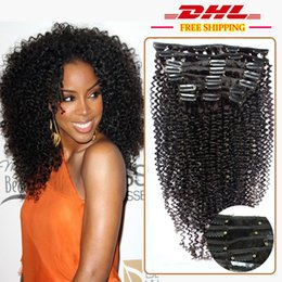 Wholesale Natural Kinky Curly Malaysia - 7A Unprocessed Malaysia Kinky Curly Clip in Human Hair Extension,1B Black Kinky Curly Style Clip on Hair Full Head Hair Clip ins