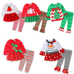 Wholesale Christmas Pajamas For Children Cotton - Children Christmas clothing Outfits for baby girl Cute Pajamas set Petal top+ pant 2017 Snowman Santa Christmas Tree dress In stock