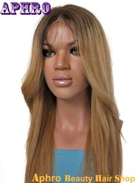 Wholesale Root Light - Premium Glueless Ombre Blonde Full Lace Human Hair Wigs With Dark Roots 130% Density Soft European Hair Front Lace Wigs With Baby Hair