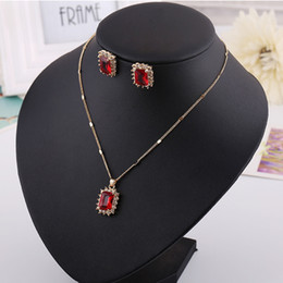Wholesale Dinner Plates Wedding - Necklace & Earring set, Red Blue Greet diamond pendants,Ruby,Sapphire for dinner party, wedding, hign quality and free shipping