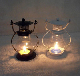 Wholesale Metal Glass Candle Holder - European Garden Glass Iron Lantern Candle Lantern kerosene lamp Home Furnishing decoration creative Candle Holders Candlestick
