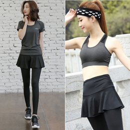 Wholesale Ladies Tennis Clothes - Spring and summer ladies fitness running sports suit female professional fitness clothes yoga clothing was thin skirt pants morning running