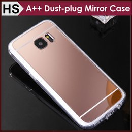 Wholesale Dustproof Plug Mix - BEST Quality For Samsung S7 Edge Mirror Acrylic TPU Case & Dustproof Plug Dust-plug Soft Clear Bumper Mix Models Protective Phone Cover DHL