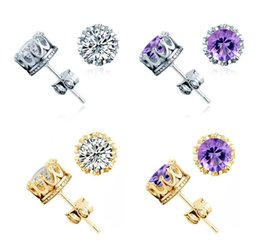 Wholesale Cheap Earring Wholesaler - Cheap Crown Wedding Stud Earring 2016 New 925 Sterling Silver CZ Simulated Diamonds Engagement Beautiful Jewelry Crystal Ear Rings