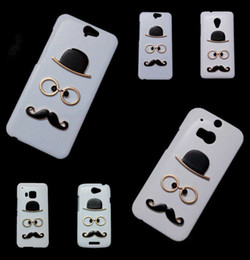 Wholesale 3d Max Metal - Cute Case for HTC 10 One M7 Mini M8 Mini M9 A9 X9 E8 Max T6, 3D Fashion Chaplin Sexy Gentleman Hat Glasses Mustache Hard Back Skin Cover