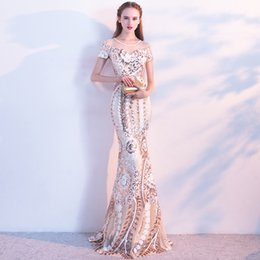 Wholesale Vintage Real Fur Jacket - Luxuries 2017 Mermaid Prom dresses Long with Crystals Applique Lace vestidos de fiesta Formal Evening Cape Sleeves Long Party Dress Sequins