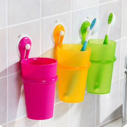 Wholesale Toothbrush Hanging Cup - 2016 new Sucker hanging toothbrush storage backet   wall suction cup   toothpaste toothbrush holder Bath free shipping