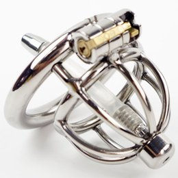 Wholesale Chastity Insert - Stainless Steel Small Chastity Cage with Urethral Insert Male Chastity Device