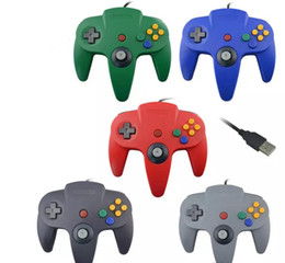 Wholesale Nintendo 64 Game Systems - USB Long Handle Game Controller Pad Joystick for Nintendo 64 N64 System PC 5 Color in stock fast shipmen