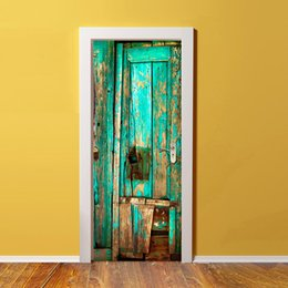 Wholesale Modern Paintings Large Size - 3D Bright Blue Wooden Door Mural Sticker Decorative 3D Wooden Painting Door Stickers Mural Large Size 77*200cm For Living Room Home Decor