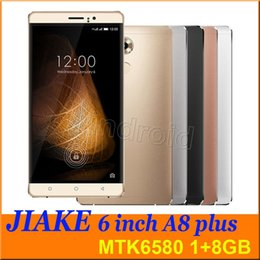 "Wholesale A8 Wifi - 6"" JIAKE A8 Plus MTK6580 quad core Android 5.1 1G 8GB smart phone HD 1280*720 8mp Dual SIM camera gesture 3G unlocked with case Colors 5pcs"