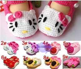 Wholesale Knitted Baby Girls Sandals - Handmade Toddler Baby Girl Shoes Baby Crochet Shoes Knit Flower Sandals Infant Hello cartoon Kitty Shoes 5pairs Free Shipping