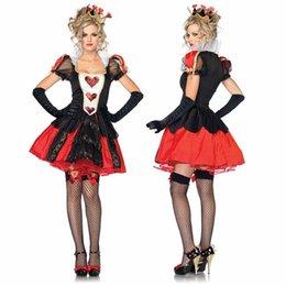Wholesale Queen Hearts Dress - Queen Of Hearts Adult Halloween Costume Alice in Wonderland Fancy Costumes Cosplay Sexy Dress Women Queen