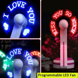 Wholesale mini fan message - usb desk fan usb programmable led fan usb mini led message fan with red green blue body and led colors recell packing