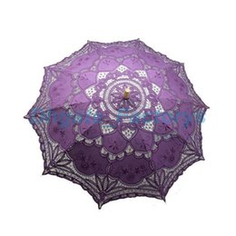 Wholesale Lace Parasols For Weddings - 10pcs Vintage Colorful Lace Manual Opening Wedding Favors Umbrella Bridal Parasol For Wedding Bridal Shower Umbrella JF-604