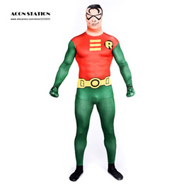 Wholesale Christmas Suits For Men - Wholesale-Green and Orange Trendy Superhero Lycra Spandex Zentai Suits for Halloween Costumes, Christmas Costumes
