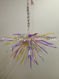 C86-Italia Diseño Colgante de vidrio soplado de colores Led de lujo Araña de luz Cadena larga Arte Decoración Lámparas colgantes de cristal modernas desde fabricantes