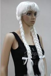 Wholesale wig silver white long - Silver white Fancy Dress Cosplay Long Double braids Christmas grandmother wig Hivision COS