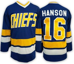 Wholesale Brother Full - Hanson Brothers Charlestown #16 Slap Shot Hockey Jersey Blue