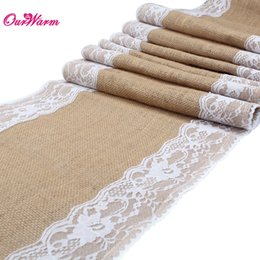Wholesale Rustic Tablecloths - Free DHL 10pcs lot Natural Burlap Table Runner Hessian Vintage Tablecloth Cover with Jute Lace Rose Pattern for Wedding Party Rustic Decor