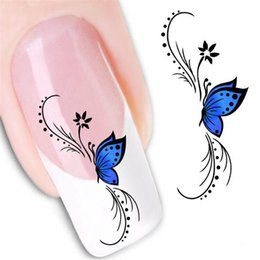 Wholesale French Nail Decals - Beauty Butterfly French Water Transfer Nail Art Sticker Decal Kit Foil Adhesive Manicure Tips Decoration Accessories