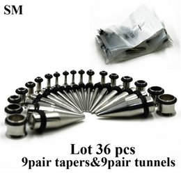 Wholesale Ear Stretchers Kit - 36piece 316l Stainless Steel Ear Expander Piercing Taper & Plugs Tunnel Kit Stretcher Gauges Body Jewelry 14g--00g