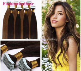 Wholesale Hair Extension Weft Remy Auburn - Hot Selling 18~28inch PU Skin Weft Hair Extensions 100% Indian Human Hair Tape Hair Extension 2.5g pc,20pcs lot Natural Hair Extensions
