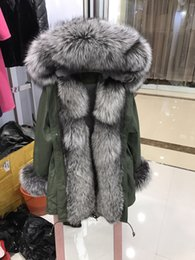Wholesale Rex Fur Jacket - silver fox Mr Mrs itlay fox and rex rabbit fur lined army green jacket Mr Mrs furs gold and silver fox fur lining long parka