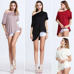 Wholesale Europe Style Long Sleeve Blouses - Summer Europe Style Tops Woman lady Blouses irregularity Batwing Dolman Sleeves T Shirt Slash Neck Tops Sexy Elegant