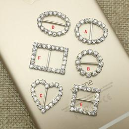 Wholesale Heart Shape Invitation - Hot Crystal buckle Square Round hearts oval-shaped buckle Rhinestone Buckles Invitation Ribbon Slider Wedding Supplies free shipping