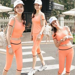 Wholesale Plus Size Sport Set - Summer Running Sets woman Sport Suit Compression Shirt Fitness Shorts Running Gym Training Sport Suit Plus Size Sport Tights