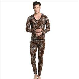 Wholesale Shino Underwear - Wholesale-Shino Cotton Men Thermal Set Underwear Wild Leopard Print Suit Keep Warming Long Johns Pants Long Shirt Winter Sleepwear M-XL