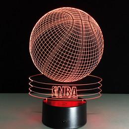 Wholesale Aa Basketball - 3D Basketball Optical Illusion Lamp RGB Colorful Night Light DC 5V USB Charging AA Battery Wholesale Dropshipping