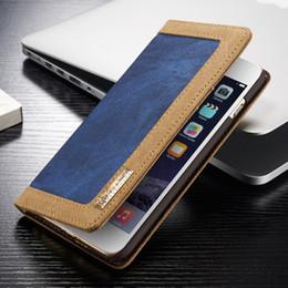 Wholesale Denim Phone Cases - Caseme Durable denim FlipWallet Case For iPhone 6 6s plus Magnetic stand Flip case for iphone 6 plus 6s plus phone bags