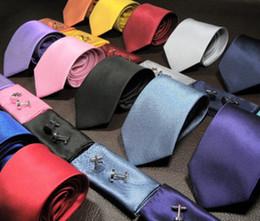 Wholesale Ties Cufflinks Wholesale - 2016 New hot sale Fashion Solid color Silk Neck Ties For Men Neckties three-piece suit Handmade Wedding Ties 145cm width 8cm 15Colors
