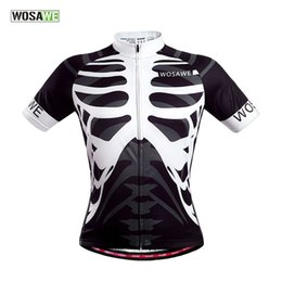 Wholesale Skeleton Cycle Jersey - WOSAWE Men's Cycling Polyester Sweater Bike Running Sport skeleton Jersey Bicycle Outdoor Sports Shirt Cycle Wear Clothes