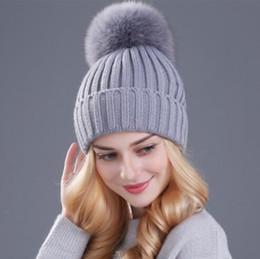 Wholesale Knitted Mink Fur Cap - Xthree mink and fox fur ball cap pom poms winter hat for women girl 's hat knitted beanies cap brand new thick female cap