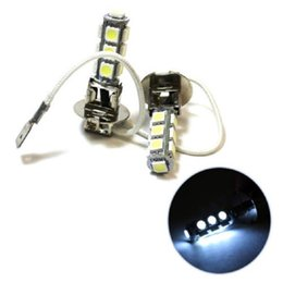 Wholesale h3 fog light bulb yellow - Hot sales-12V H3 13-5050-SMD White LED Car Front Head Fog Light Headlight Bulb