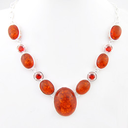 Wholesale Red Oval Gemstone - Special Offer Oval Amber Pendants Sterling Silver Jewelry Gorjuss free Shipping Gemstone Necklace Natural Mottled Jasper Party Jewelry N0508